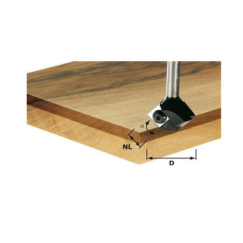 Festool 491672 Chamfer Trimming Router Bit w/Replaceable Inserts HW D 19/12 S8 45 Degree