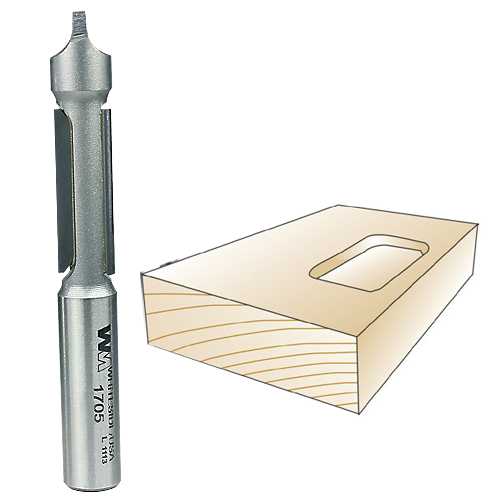 Whiteside 1705 Panel Router Bit with Pilot Plunge Point, 3/8-Inch Shank x 3/8-Inch CD x 1-Inch CL