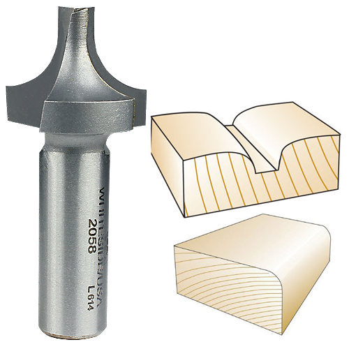 Whiteside 2058 Plunge Round Over with Plunge Point Router Bit, 1/2-Inch Shank x 3/8-Inch R