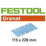 Festool 498954 Granat P400 Sheet Abrasives - 115 x 228mm - 100 Pk.