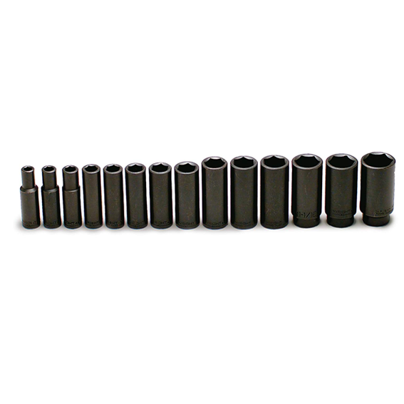 Wright Tool #407 1/2 Inch Drive 14 Pc  6 Pt  Deep Impact Socket Set,  3/8 Inch to 1-1/4 Inch
