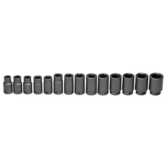 Wright Tool #660 3/4 Drive 14 Pc. 6 Point Standard Metric Impact Socket Set, 19mm to 41mm