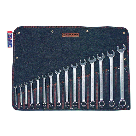 Wright Tool #715 15 Pc. 12 Pt. Combination Wrench Set, 5/16 to 1-1/4