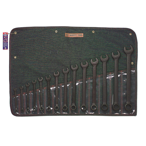 Wright Tool #721 14 Pc. 12 Pt. Black Combination Wrench Set, 3/8 to 1-1/4