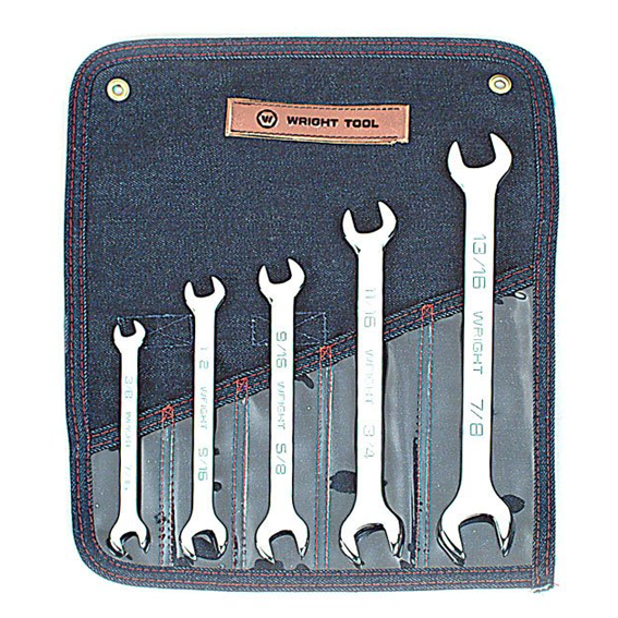 Wright Tool #735 5 Pc  Full Polish Open End Wrench Set, 3/8 Inch to 7/8 Inch