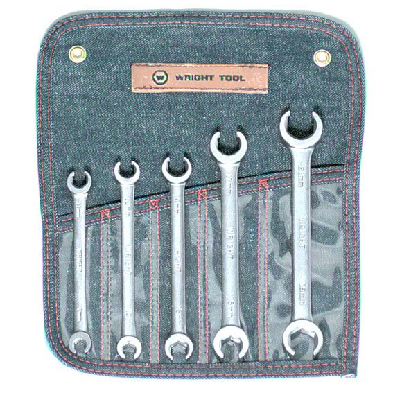 Wright Tool #744 5 Pc. 6 Point Metric Flare Nut Wrench  Set, 9mm to 21mm