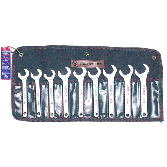 Wright Tool #745 9 Piece 30 Degree Service Wrench Set, 3/4 to 1-1/4