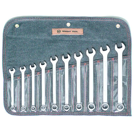 Wright Tool #751 10 Pc. 12 Point Metric Combination Wrench Set, 10mm to 19mm