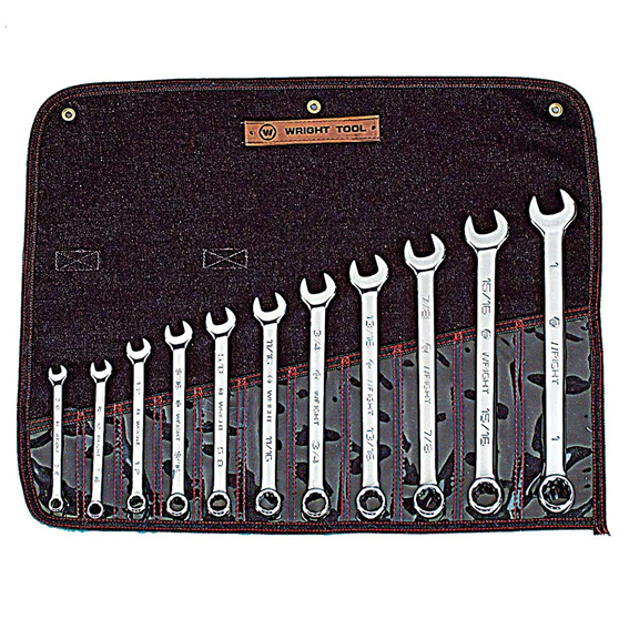 Wright Tool #911 11 Pc. 12 Pt. Combination Wrench WRIGHTGRIP 2.0 Set, 3/8 to 1