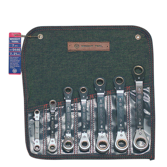 Wright Tool #9446 7 Piece 12 Point Metric Offset Reverse Ratcheting Box Wrench Set, 7mm to 21mm