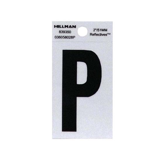 Hillman 839350 2-Inch Letter P Black On Silver Reflective Square Mylar