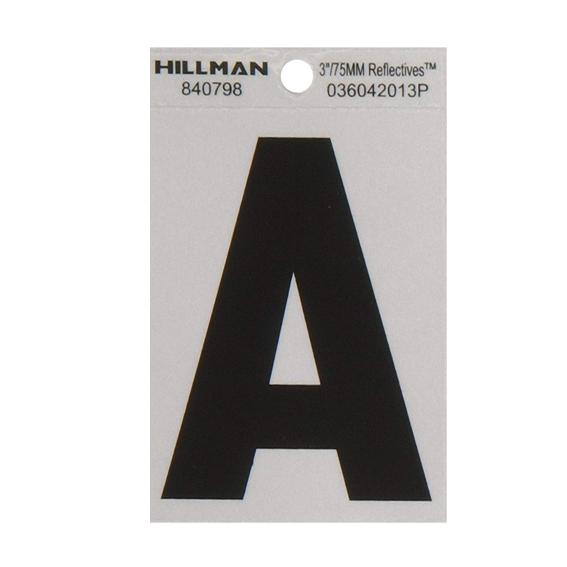 Hillman 840798 3-Inch Letter A Black On Silver Reflective Square Mylar