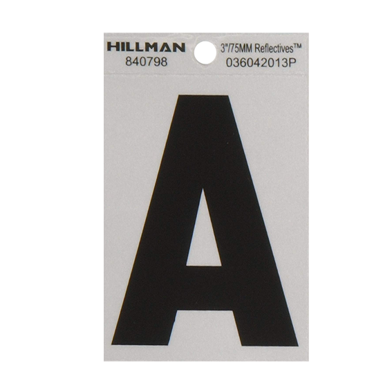Hillman 840798 3-Inch Letter A's Black On Silver Reflective Square Mylar, 2 ct