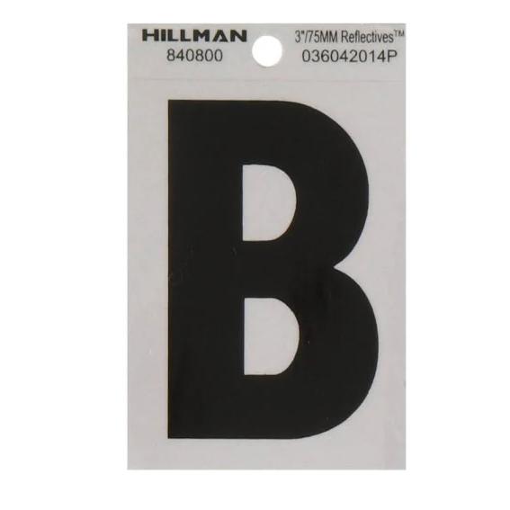 Hillman 840800 3-Inch Letter B Black On Silver Reflective Square Mylar