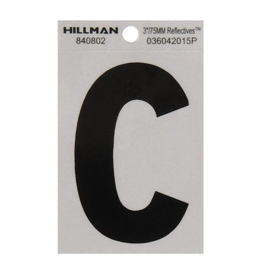 Hillman 840802 3-Inch Letter C Black On Silver Reflective Square Mylar