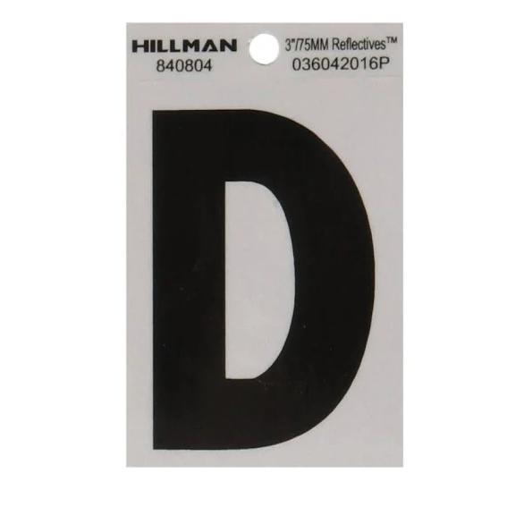 Hillman 840804 3-Inch Letter D Black On Silver Reflective Square Mylar