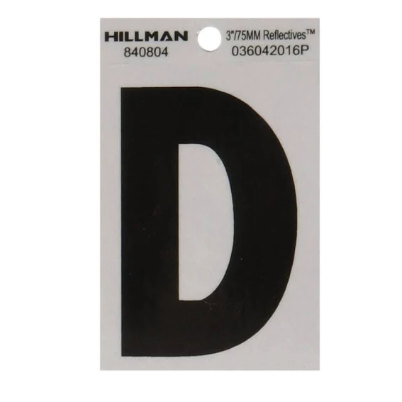 Hillman 840804 3-Inch Letter D's Black On Silver Reflective Square Mylar, 2 ct