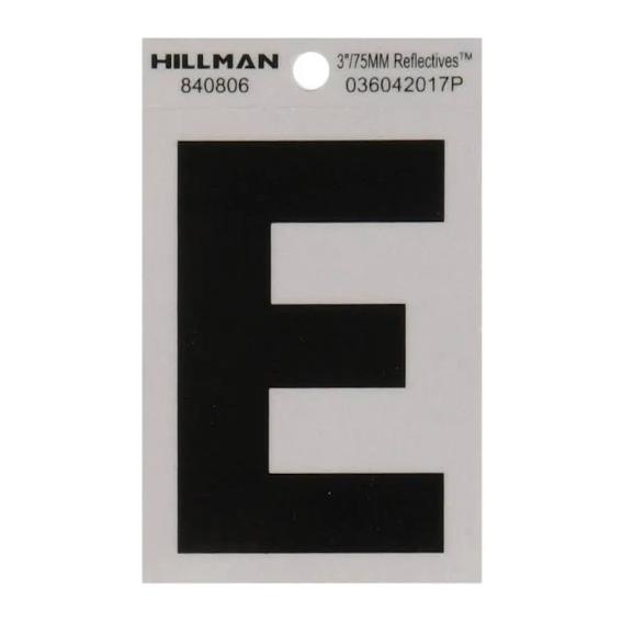 Hillman 840806 3-Inch Letter E Black On Silver Reflective Square Mylar