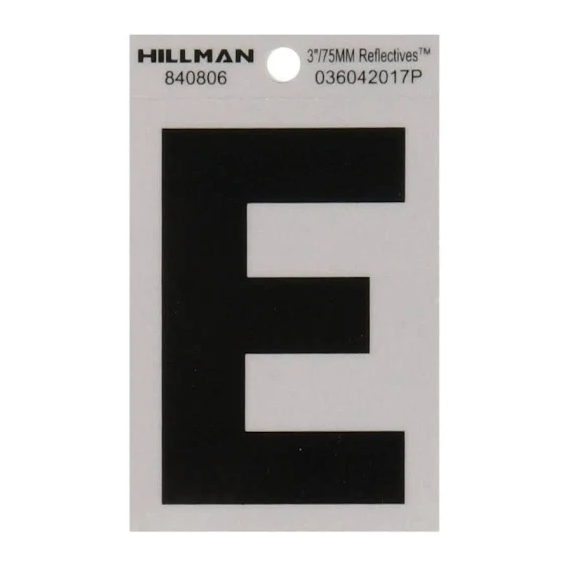 Hillman 840806 3-Inch Letter E's Black On Silver Reflective Square Mylar, 2 ct