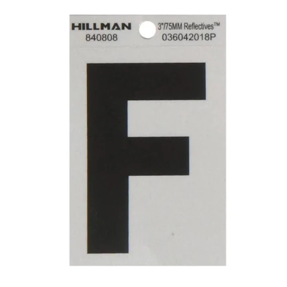 Hillman 840808 3-Inch Letter F Black On Silver Reflective Square Mylar