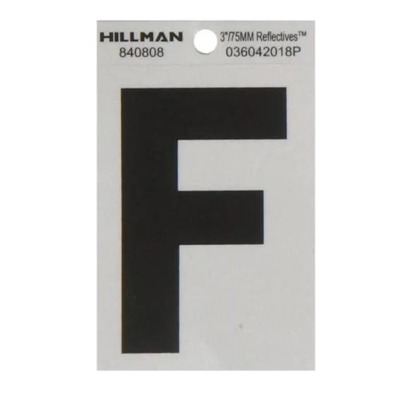 Hillman 840808 3-Inch Letter F's Black On Silver Reflective Square Mylar, 2 ct