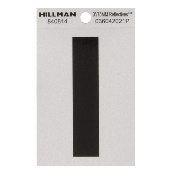 Hillman 840814 3-Inch Letter I Black On Silver Reflective Square Mylar