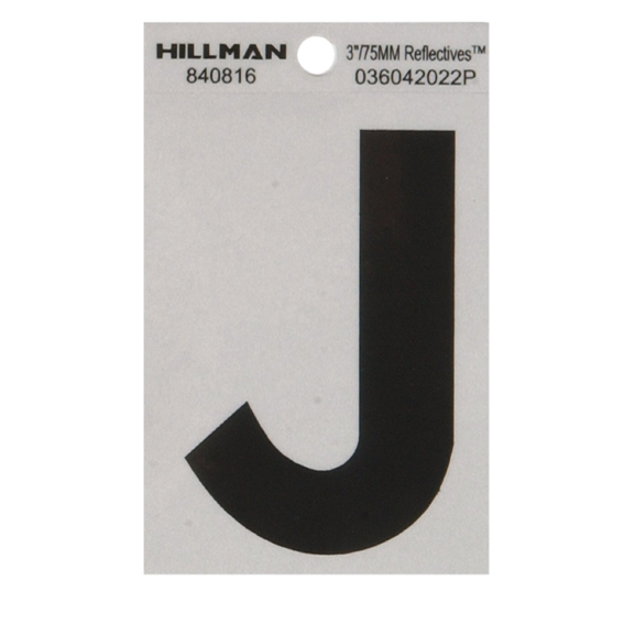 Hillman 840816 3-Inch Letter J Black On Silver Reflective Square Mylar