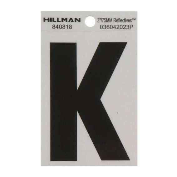 Hillman 840818 3-Inch Letter K Black On Silver Reflective Square Mylar