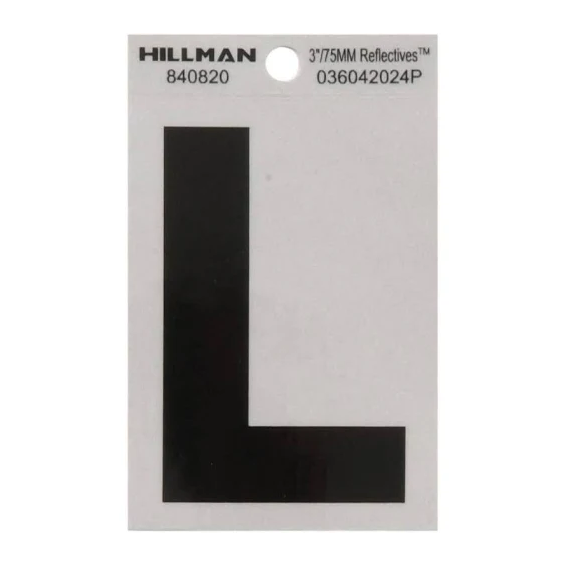 Hillman 840820 3-Inch Letter L Black On Silver Reflective Square Mylar