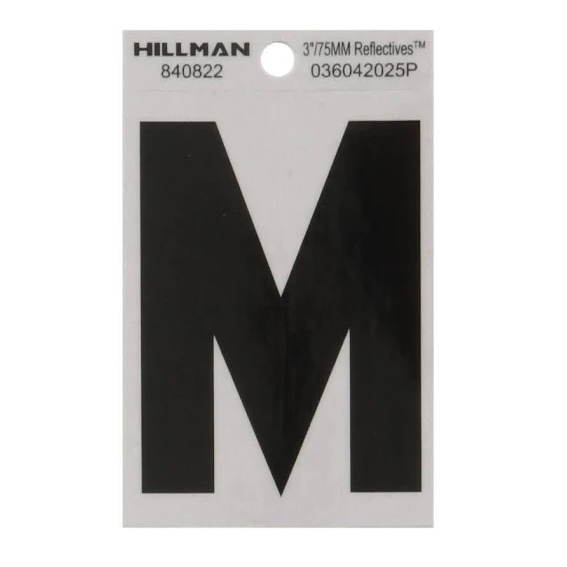 Hillman 840822 3-Inch Letter M Black On Silver Reflective Square Mylar