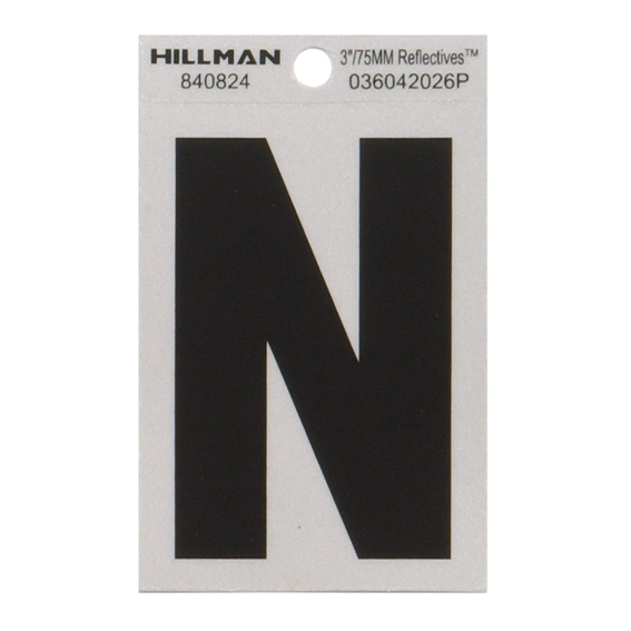 Hillman 840824 3 Letter N Black On Silver Reflective Square Mylar