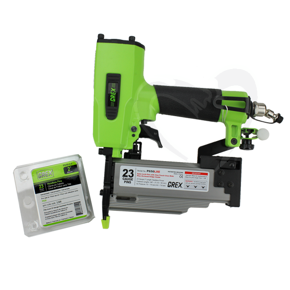 Grex GH650LXE 23 Gauge 2 Headless Pinner with Edge Guide & Free Pins
