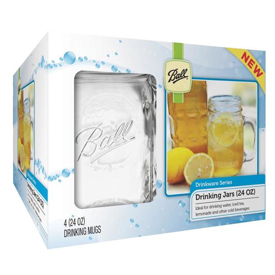 Ball 24 oz. Glass Drinking Mason Jar Set, 4 ct