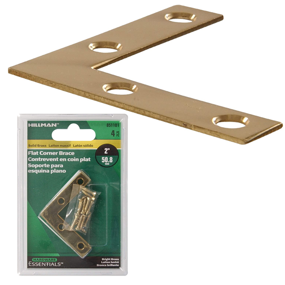 Hillman 851101 2 Solid Brass Flat Corner Braces, 4 ct