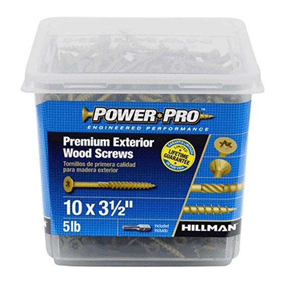 Hillman 48614 10 X 3-1/2 Power Pro Premium Exterior Wood Screws, 5 lb