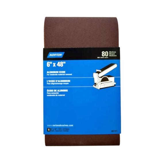 Norton Aluminum Oxide Sanding Belt, 6 X 48 X 120 Grit