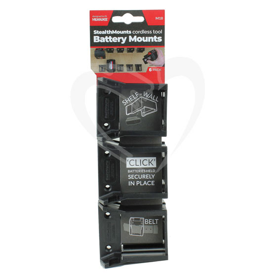 StealthMount BM-MW18-6 Milwaukee Black Battery Mounts, 6 ct