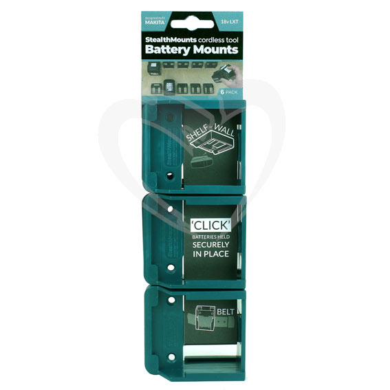 StealthMount BM-MK18-BLU-6 Makita Blue Battery Mounts, 6 ct