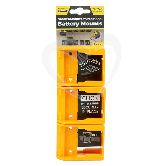 StealthMount BM-DW20-YLW-6 DeWalt Yellow Battery Mounts, 6 ct