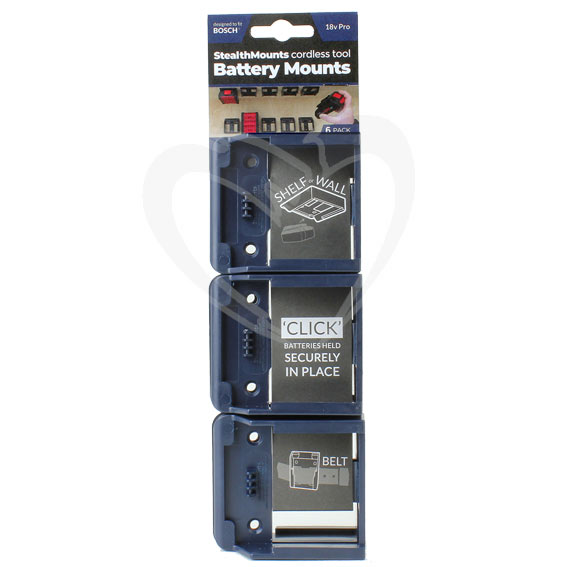 StealthMount BM-BO18-BLU-6 Bosch Blue Battery Mounts, 6 ct