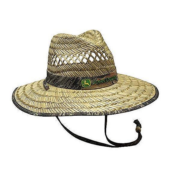 John Deere LP67026 Camo Straw Hat with Neck Strap