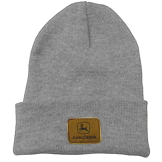 John Deere LP39950 Gray Knit Beanie with Logo Patch