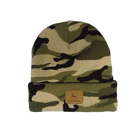 John Deere LP47342 Camo Knit Beanie with Logo Patch