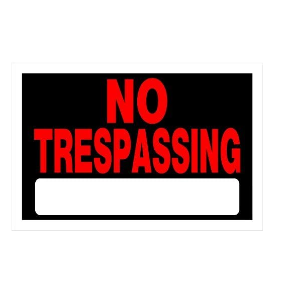 Hillman 839904 Adhesive No Trespassing Sign, 8 x 12