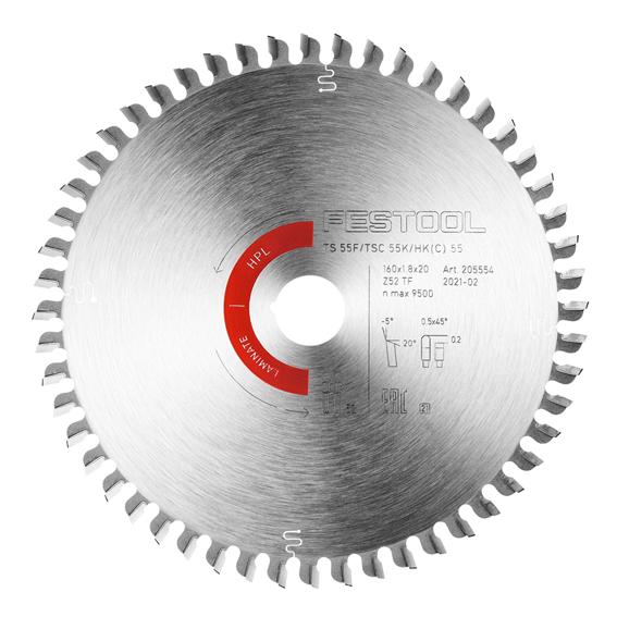 Festool 205562 Laminate/HPL Saw Blade HW 160x1,8x20 TF52 L