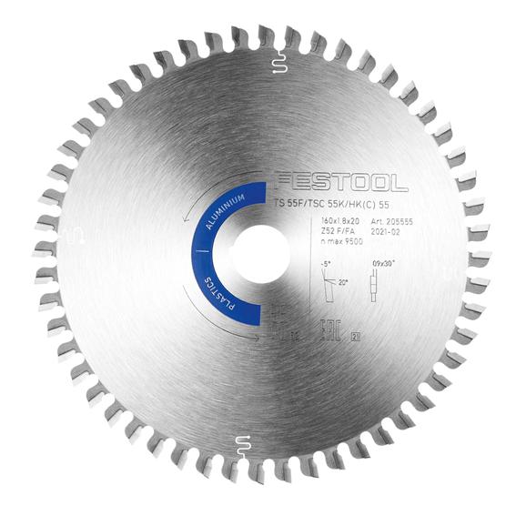 Festool 205563 Aluminum/Plastics Saw Blade HW 160x1,8x20 TF52 A