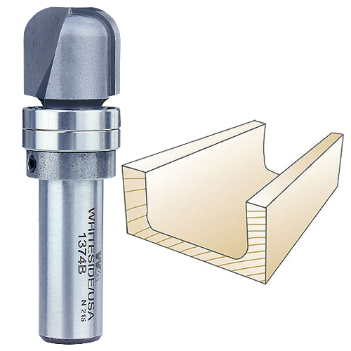 Whiteside 1374B Bowl & Tray Router Bit w/Bearing, 1/2-Inch SH x 1/4-Inch R x 3/4-Inch CD