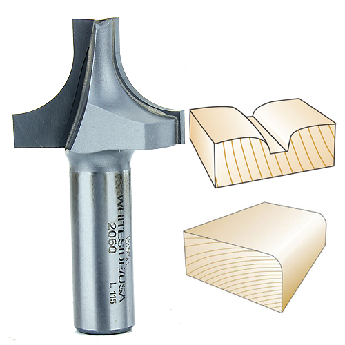 Whiteside 2060 Plunge Round Over with Plunge Point Router Bit, 1/2-inch Shank x 1/2-Inch R