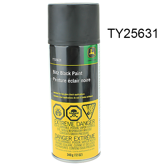 JOHN DEERE #TY25631 BLITZ BLACK PAINT - 12 OZ.