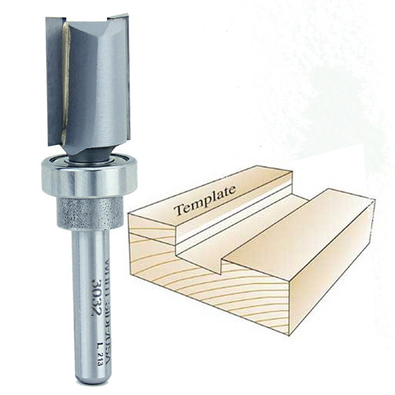 WHITESIDE #3032 TEMPLATE BIT W/OVERSIZE BEARING - 1/4 INCH SH X 9/16 INCH CD X 3/4 INCH CL